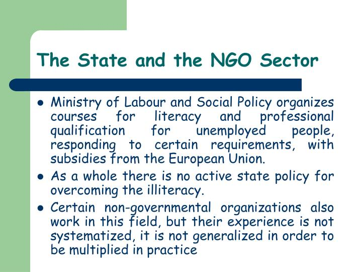 The State and the NGO Sector