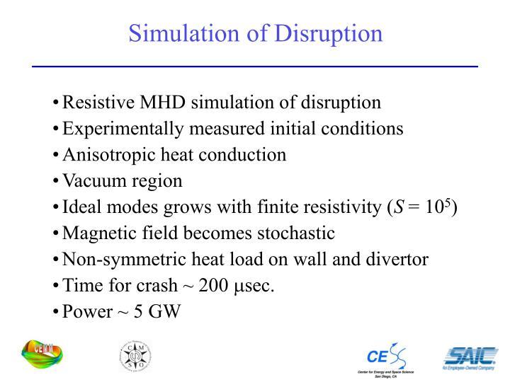 Simulation of Disruption