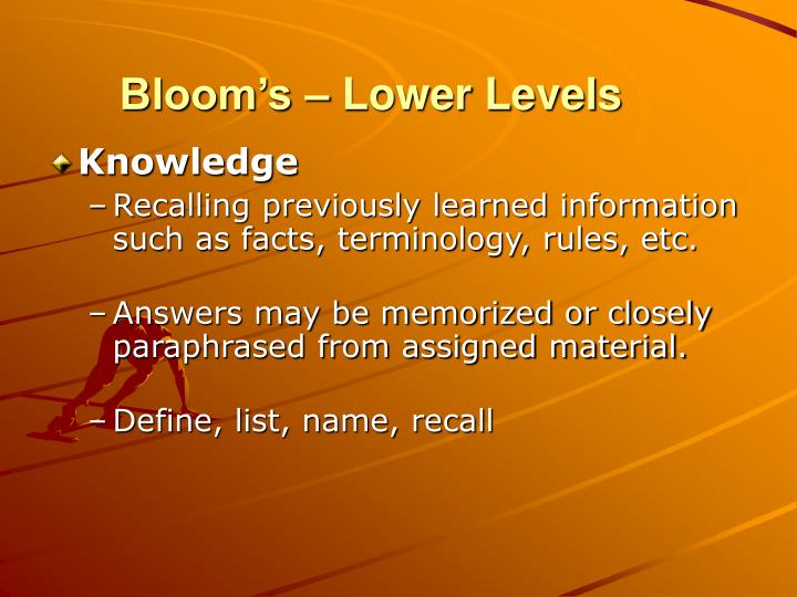 Bloom's – Lower Levels