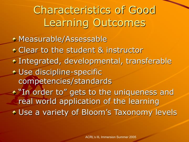 Characteristics of Good Learning Outcomes