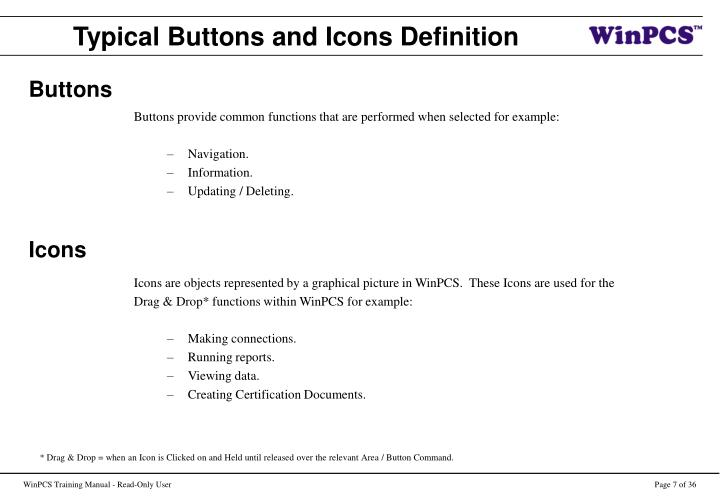 Typical Buttons and Icons Definition