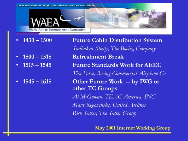 1430 – 1500Future Cabin Distribution System
