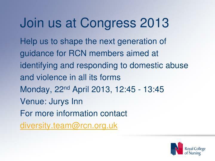 Join us at Congress 2013