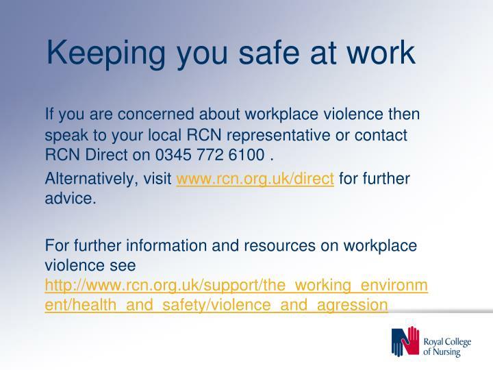 Keeping you safe at work