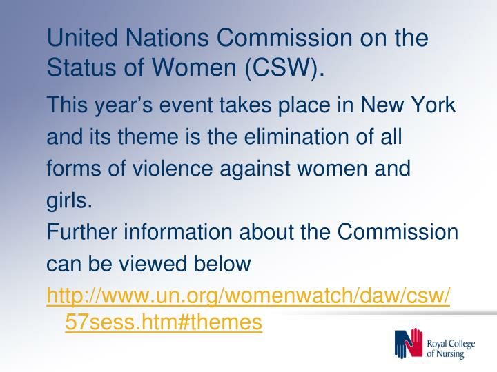 United Nations Commission on the Status of Women (CSW).