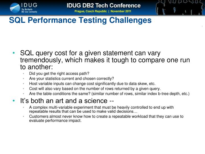SQL Performance Testing Challenges