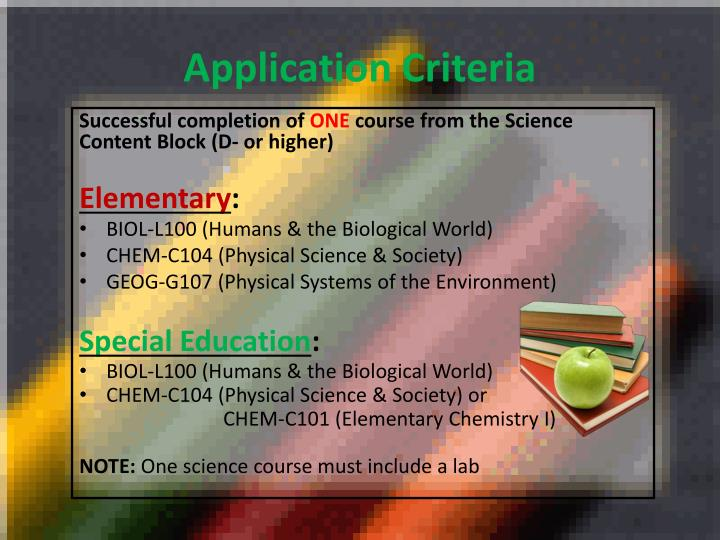 Application Criteria