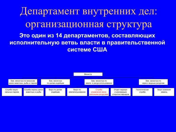 Департамент внутренних дел: организационная структура