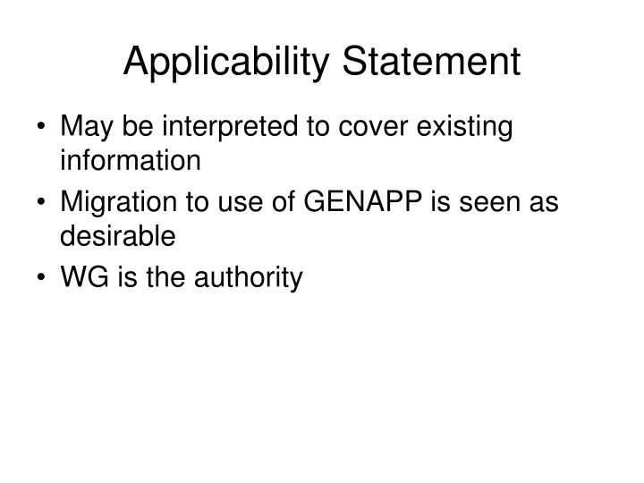Applicability Statement