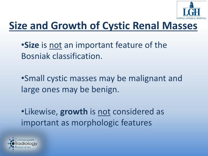 Size and Growth of Cystic Renal Masses