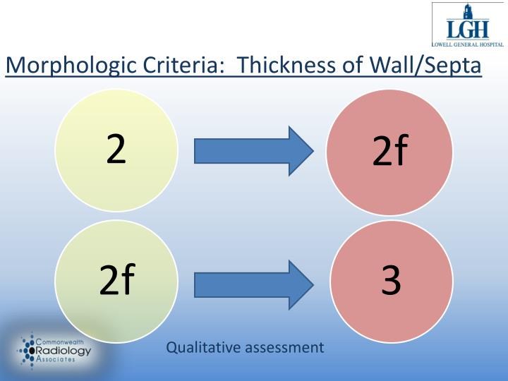 Morphologic Criteria:  Thickness of Wall/Septa