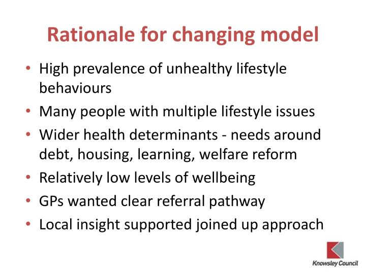 Rationale for changing model