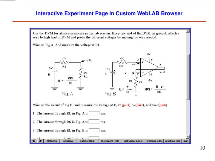 Interactive Experiment Page in Custom WebLAB Browser