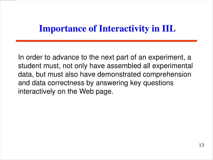 Importance of Interactivity in IIL