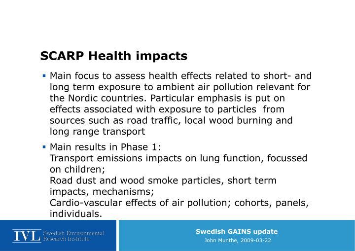 SCARP Health impacts