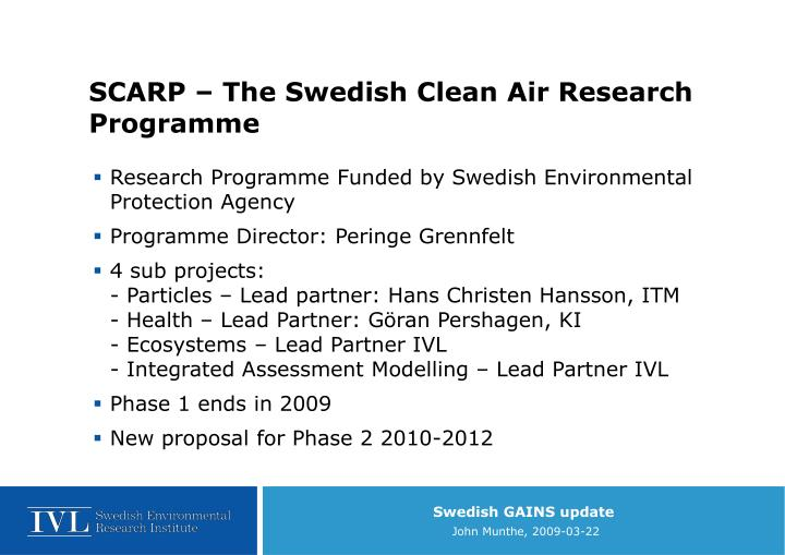 SCARP – The Swedish Clean Air Research Programme