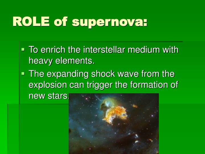 ROLE of supernova: