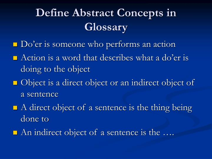 Define Abstract Concepts in Glossary