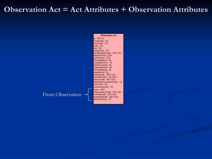 Observation Act = Act Attributes + Observation Attributes