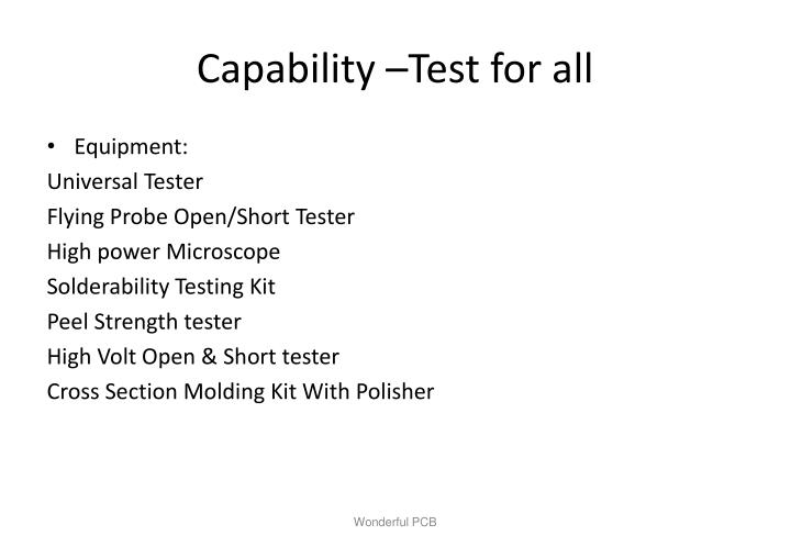 Capability –Test for all