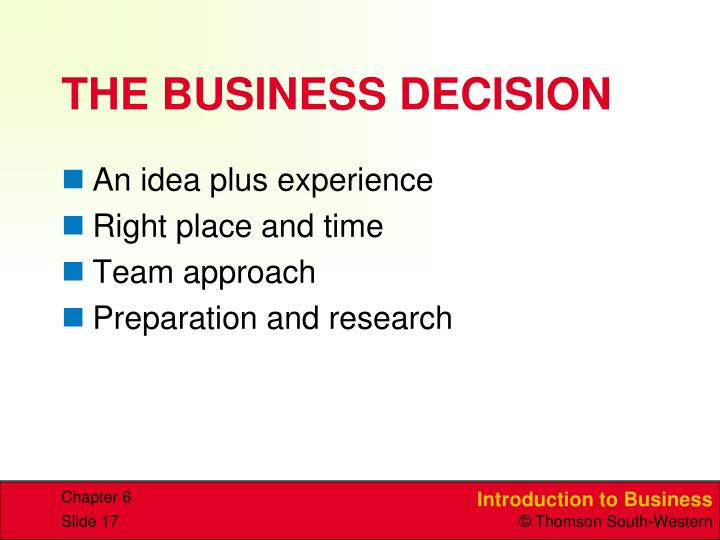 THE BUSINESS DECISION