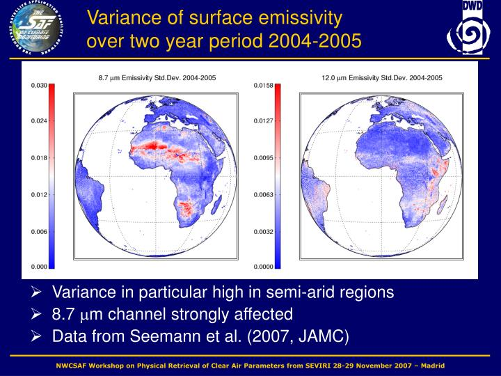 Variance of surface emissivity over two year period 2004-2005
