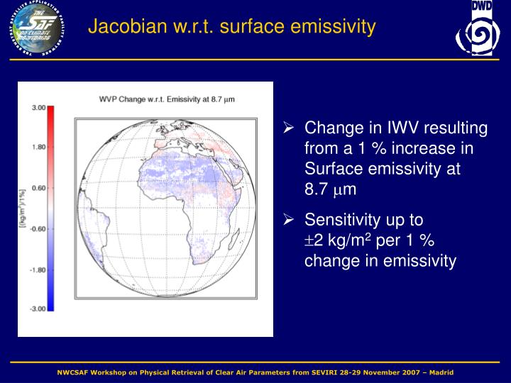 Jacobian w.r.t. surface emissivity