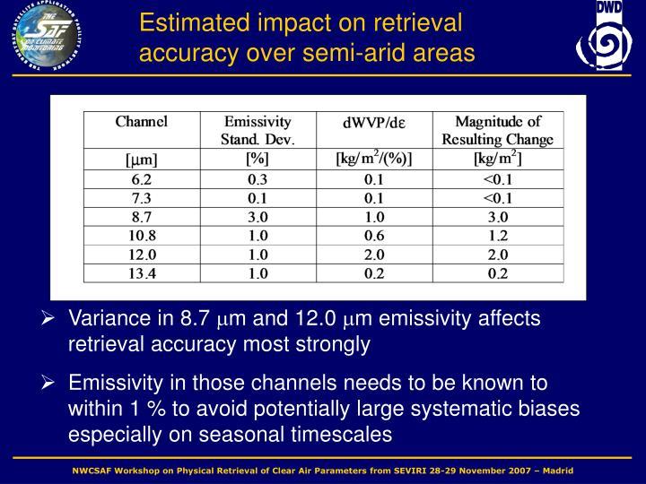 Estimated impact on retrieval accuracy over semi-arid areas