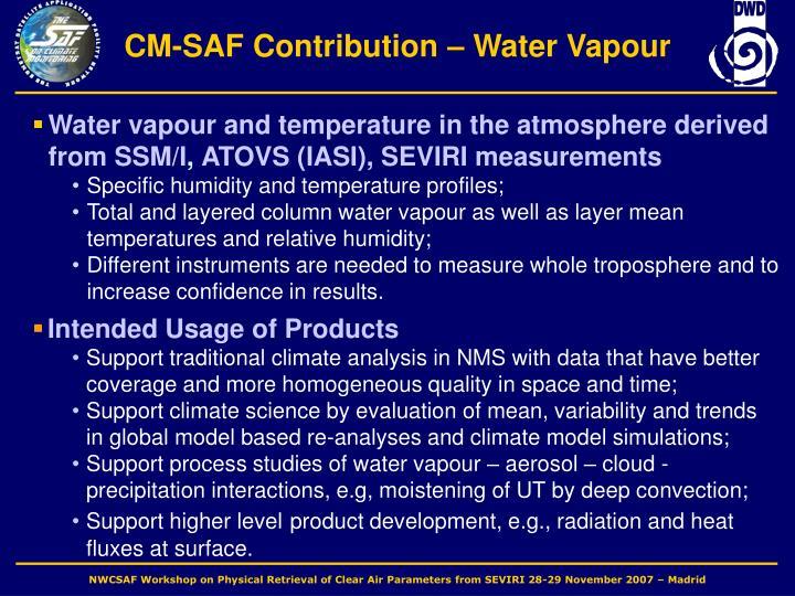 CM-SAF Contribution – Water Vapour