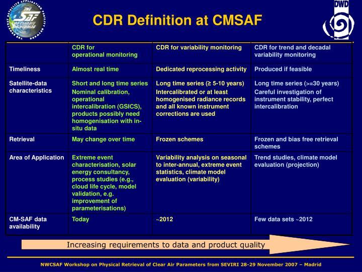 CDR Definition at CMSAF