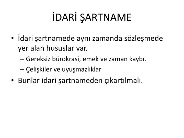 İDARİ ŞARTNAME