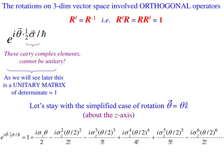 The rotations on 3-dim vector space involved ORTHOGONAL operators