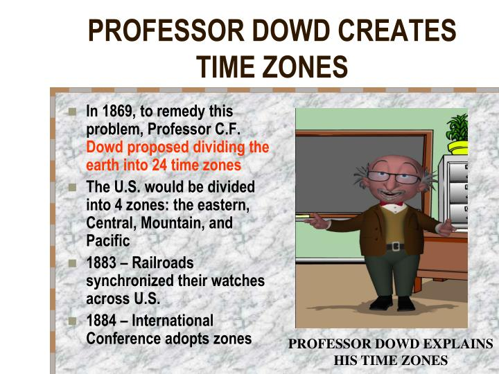 PROFESSOR DOWD CREATES TIME ZONES