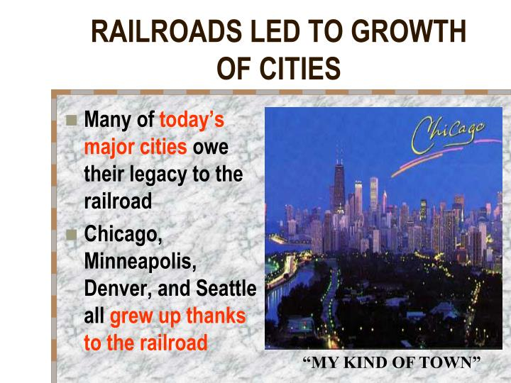 RAILROADS LED TO GROWTH OF CITIES