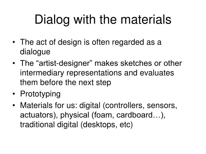 Dialog with the materials