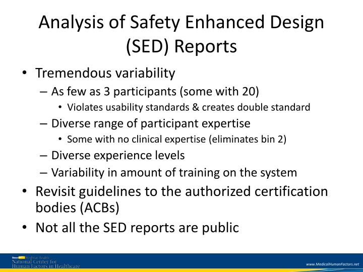 Analysis of Safety Enhanced Design (SED) Reports