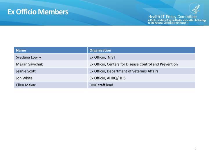Ex Officio Members