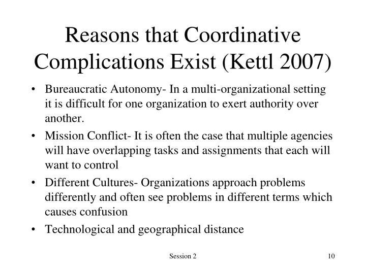 Reasons that Coordinative Complications Exist (Kettl 2007)
