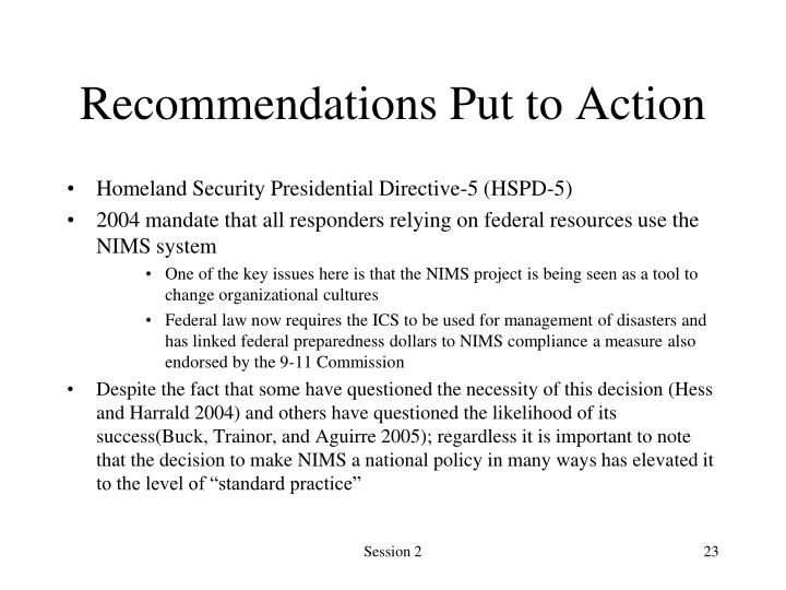 Recommendations Put to Action