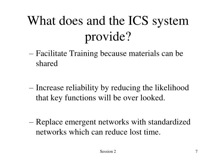 What does and the ICS system provide?