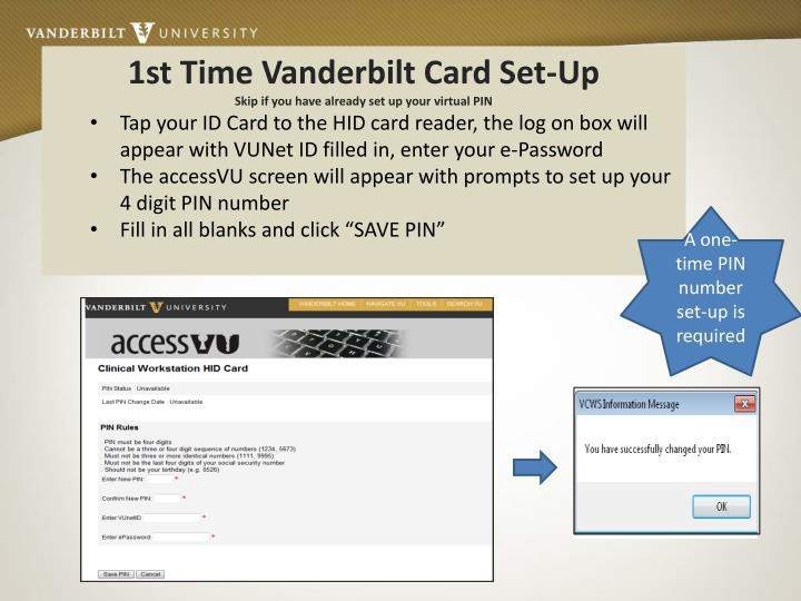 1st Time Vanderbilt Card Set-Up
