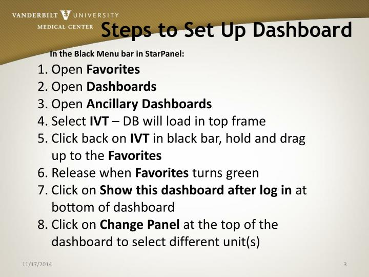 Steps to set up dashboard