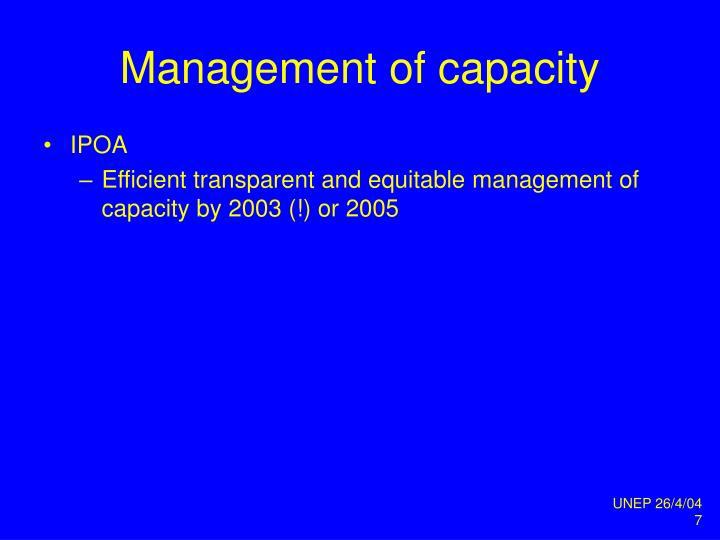 Management of capacity