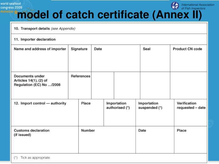 model of catch certificate (Annex II)