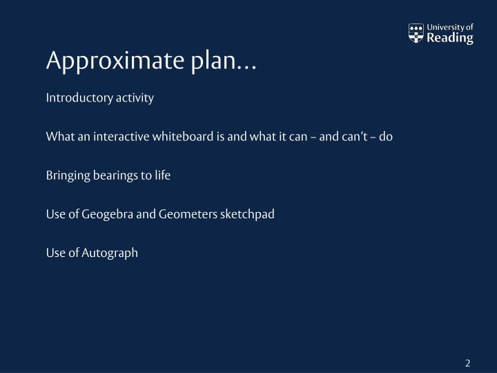 Approximate plan…