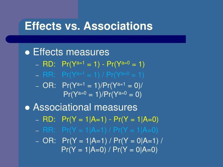 Effects vs. Associations