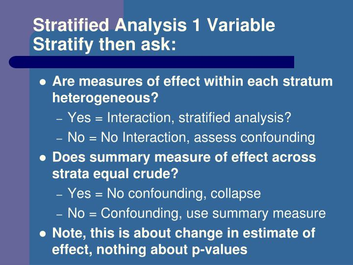 Stratified Analysis 1 Variable