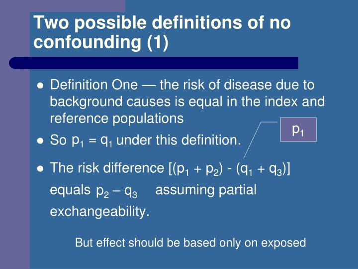 Two possible definitions of no confounding (1)