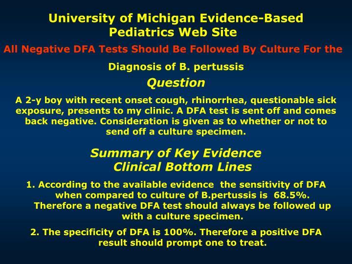University of Michigan Evidence-Based Pediatrics Web Site