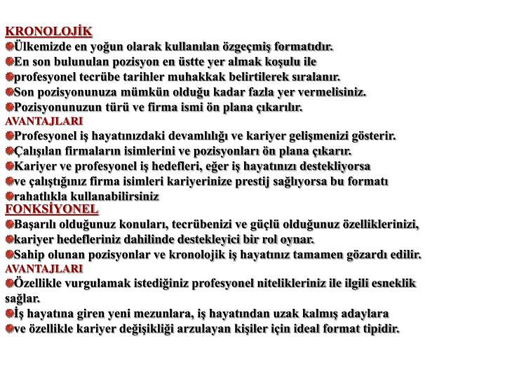 KRONOLOJİK